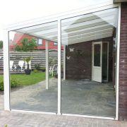 Glaswand overkapping schuin