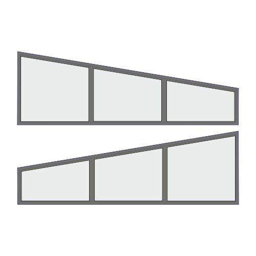 2 stuks aluminium spiekozijnen 2650 x 510 x 820 mm